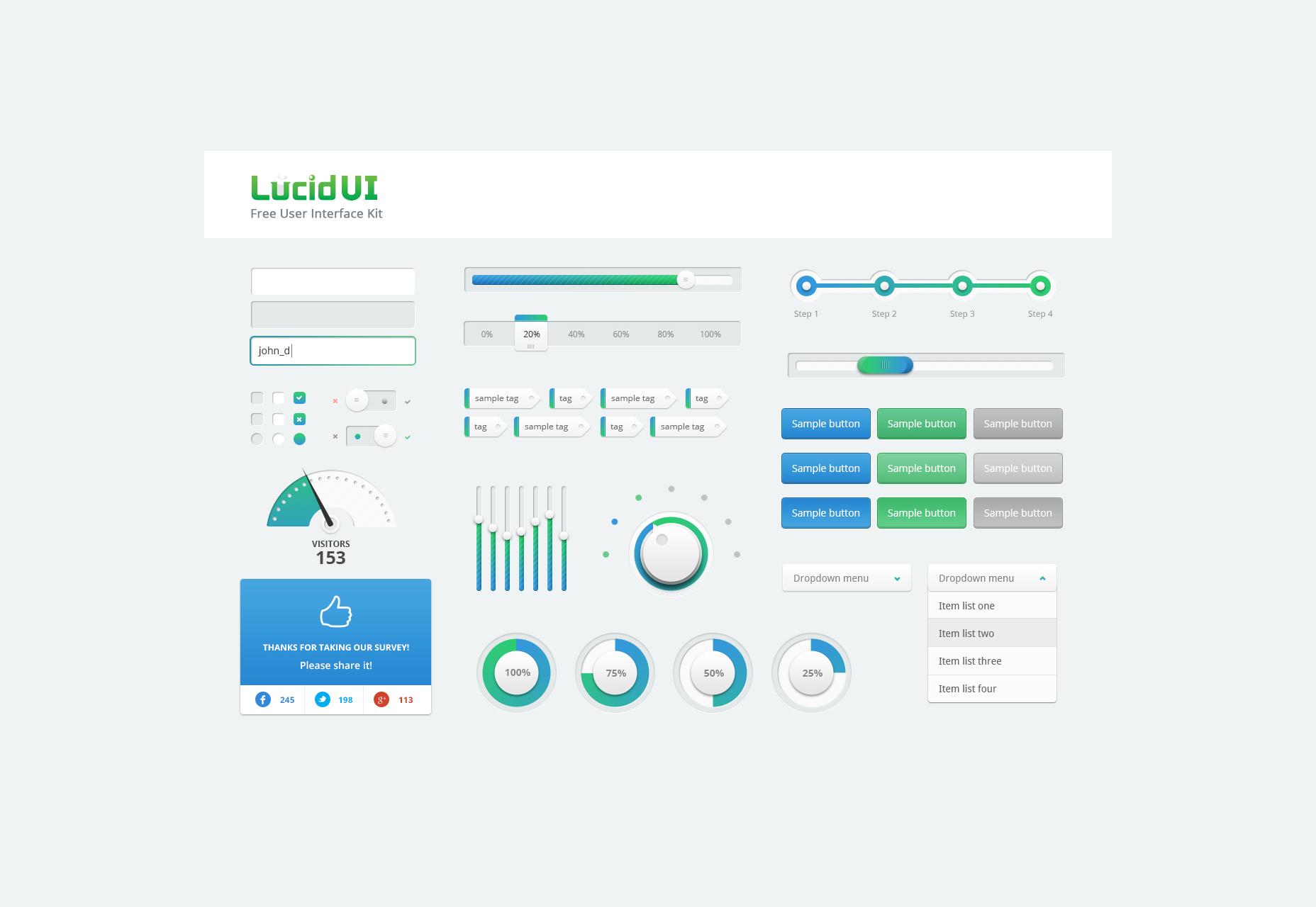 Kit de interfaz de usuario lúdica PSD gratis