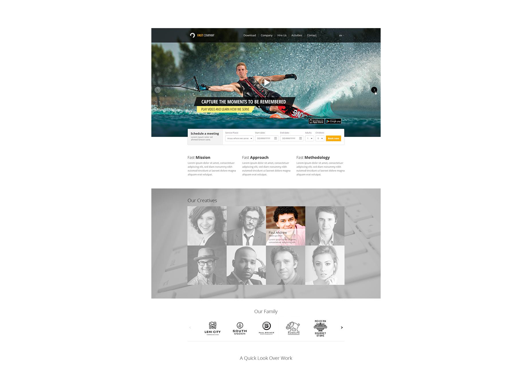Eén pagina PSD-websitesjabloon