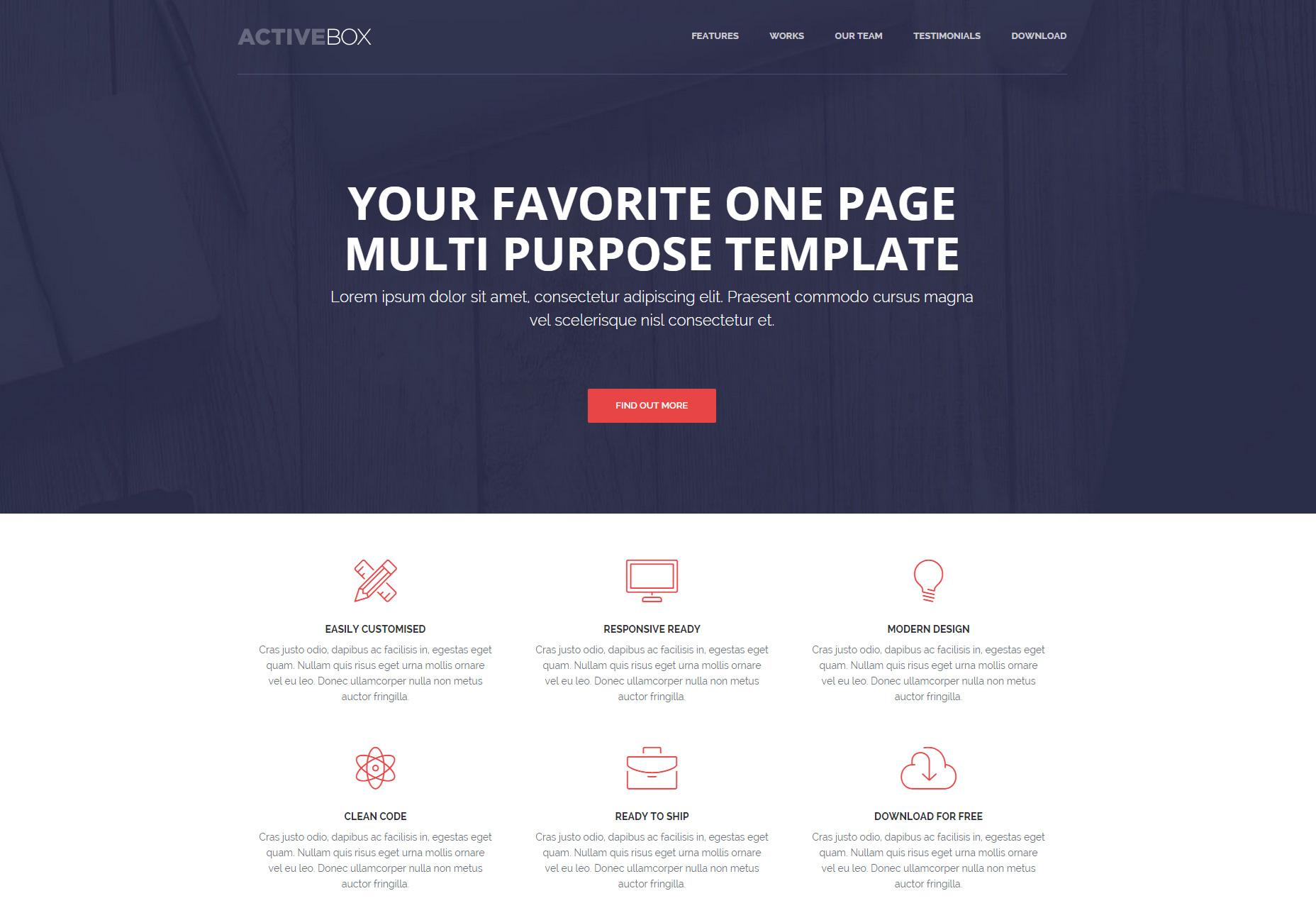 ActiveBox: Plantilla HTML multipropósito de una página