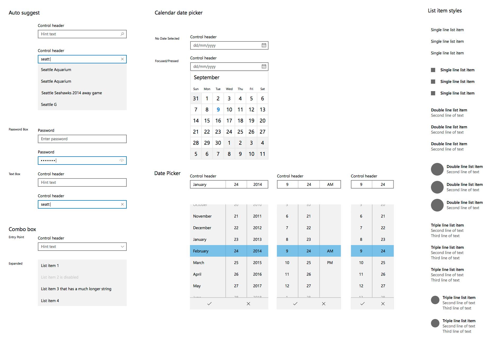 Kit de interfaz de usuario de Windows 10 Sketch