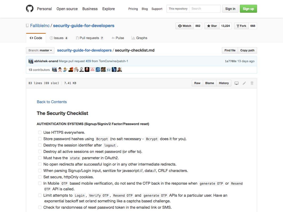 la lista de verificación de seguridad