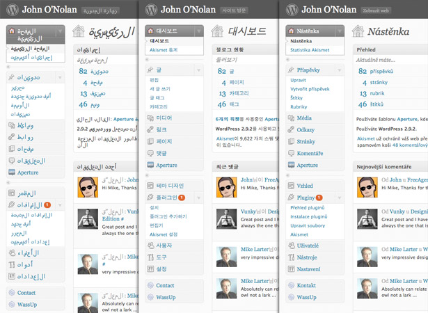 WordPress en árabe, coreano y checo