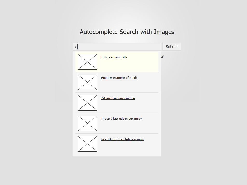 Demostración básica de la búsqueda de Foxycomplete con imágenes