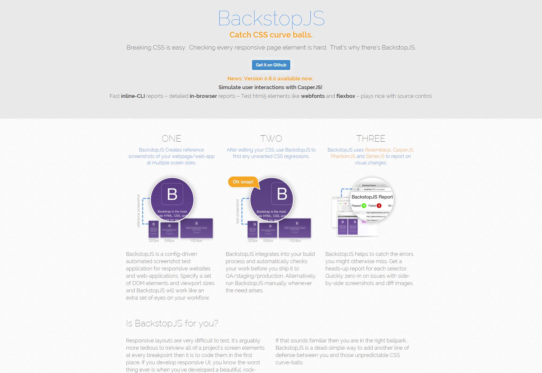 BackstopJS: Aplicación de prueba de captura de pantalla basada en configuración