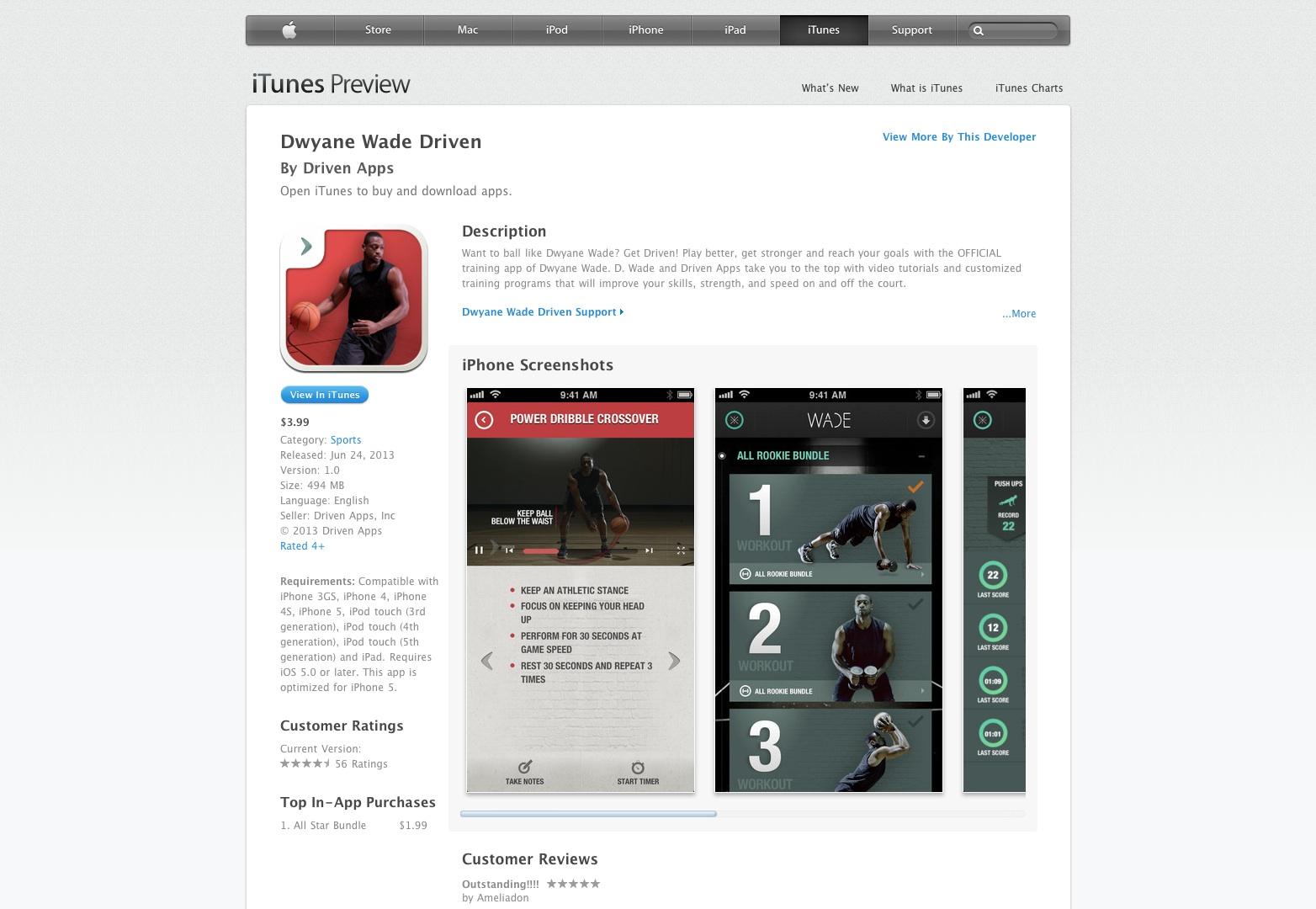 Dwyane Wade Driven para iPhone 3GS, iPhone 4, iPhone 4S, iPhone 5, iPod touch (3ª generación), iPod touch (4ª generación), iPod touch (5ª generación) y iPad en el App Store de iTunes
