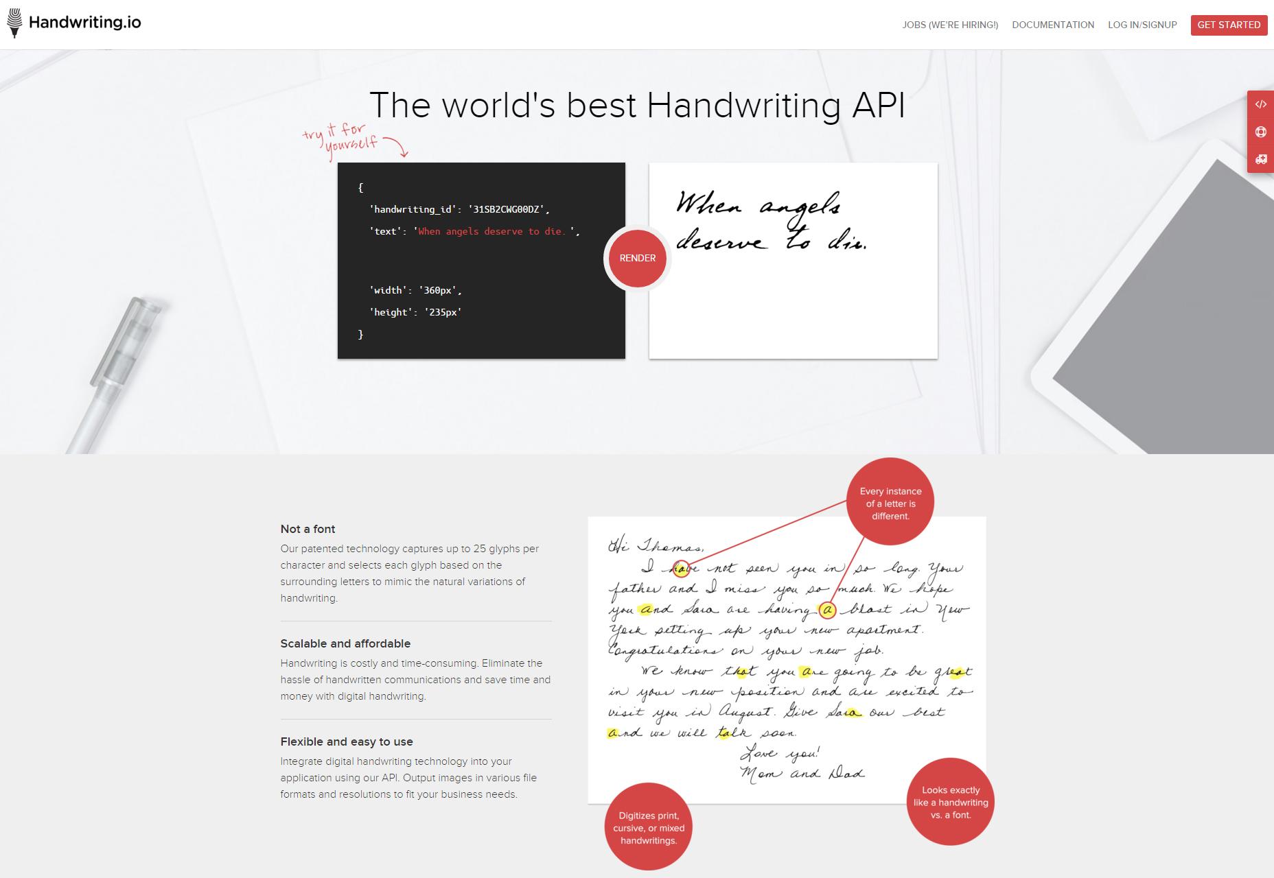 Handschrift.io: Realistisch uitziende handschrift-API