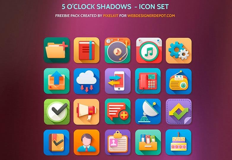 5 o clock shadow icon set