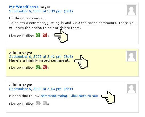 calificación de comentario