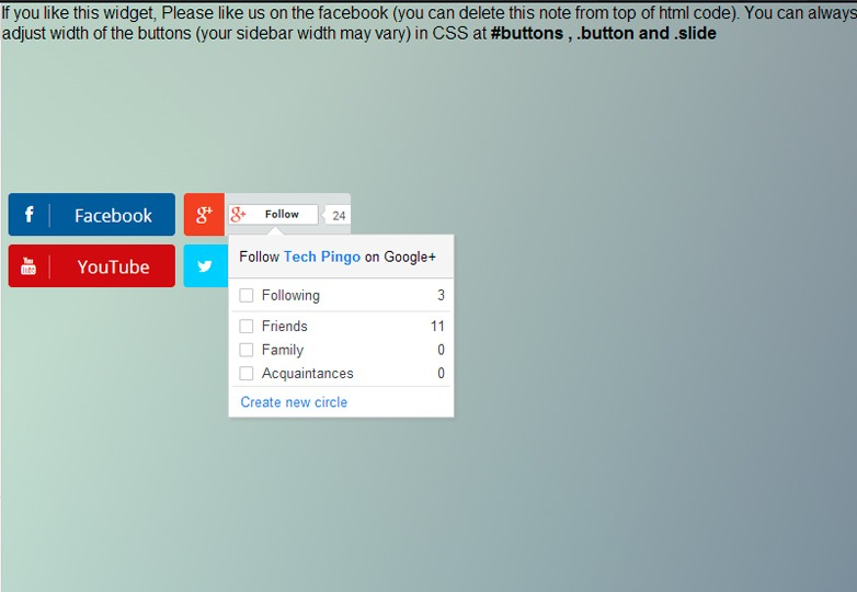 social subscribe widget