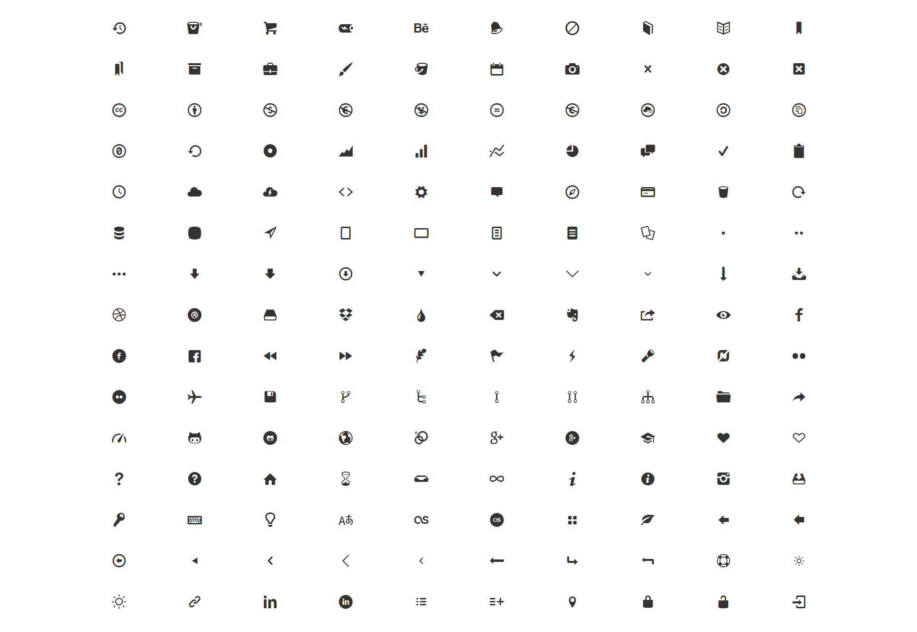 We Love Icon Fonts: Google Web Fonts-achtige verzameling