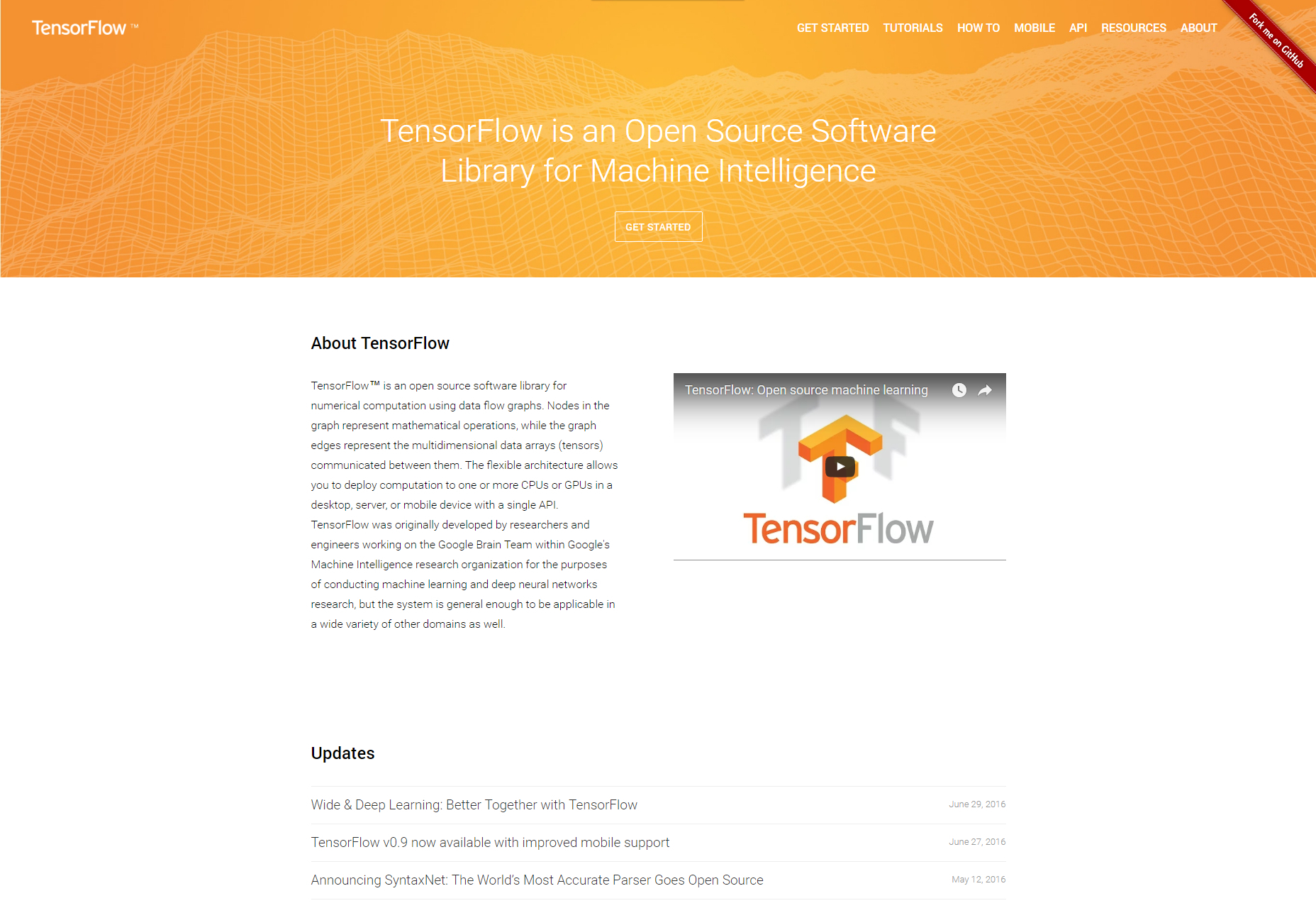 TensorFlow: Open Source Machine Intelligence Software Library