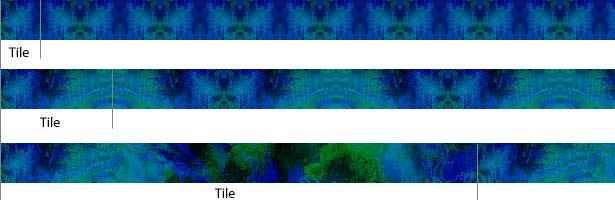 ejemplo de varios tamaños de azulejos