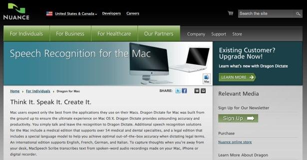 Dragon Dictate for Mac-nettstedet