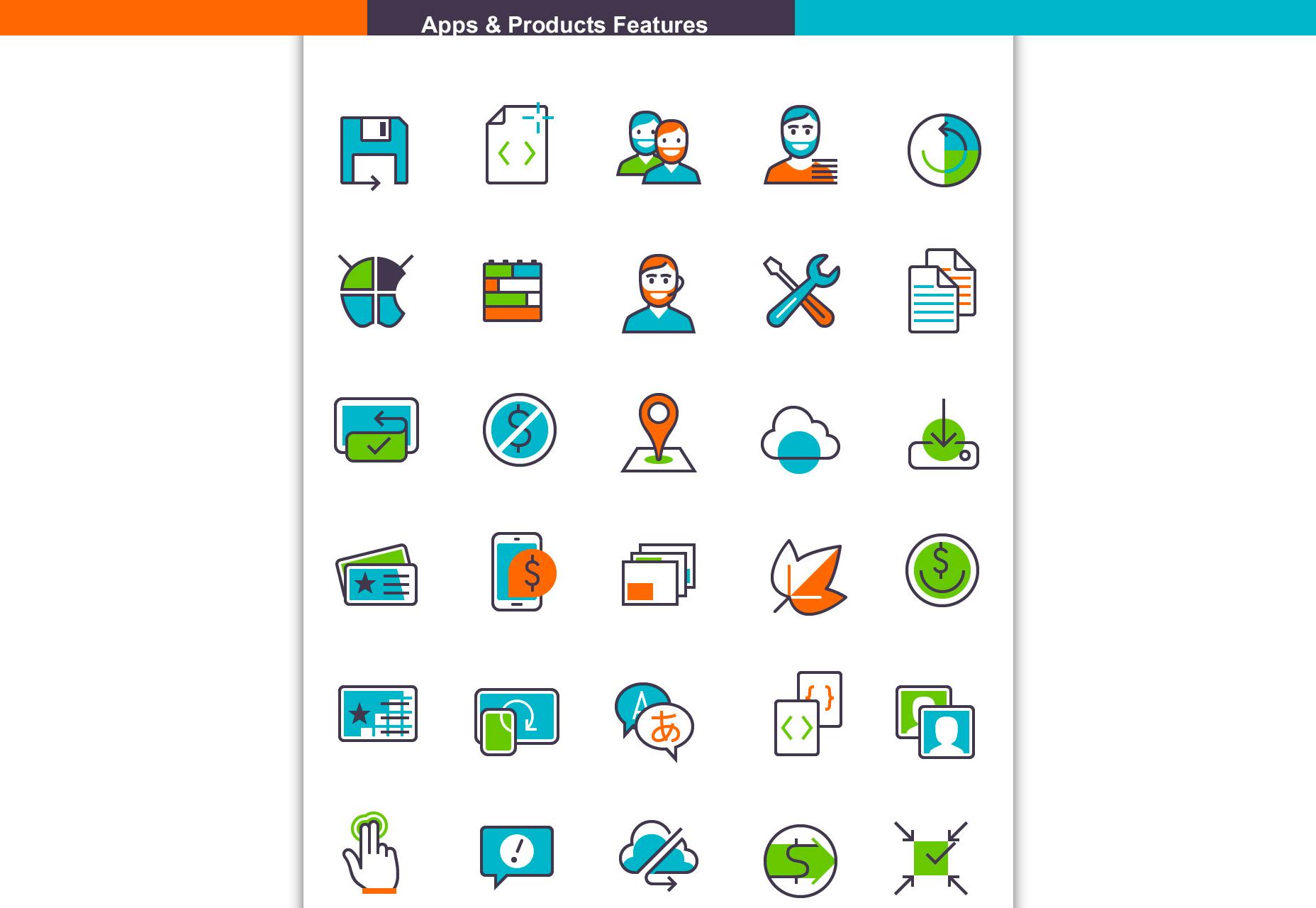 Pěkné aplikace a funkce produktu Ikona Set