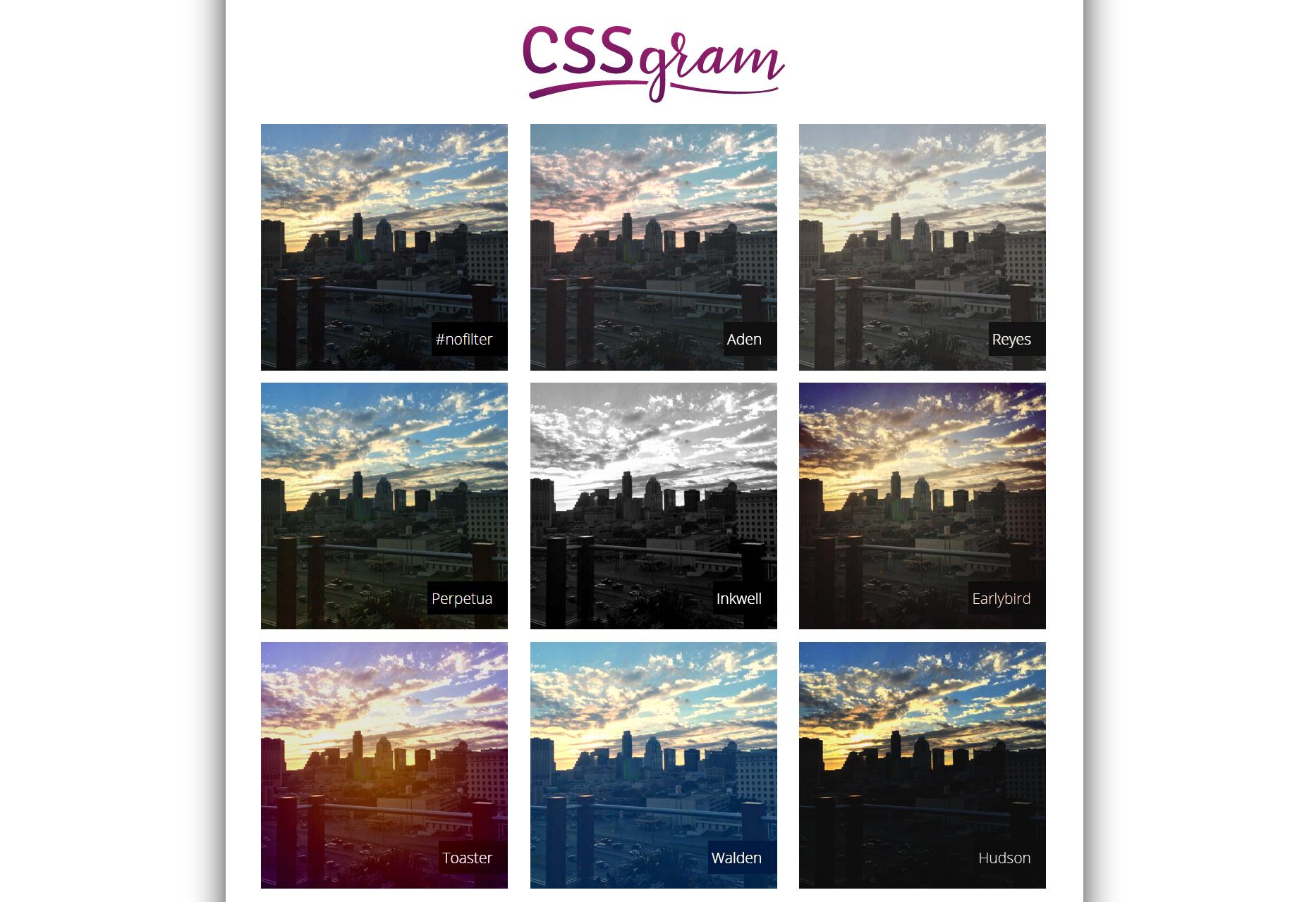 CSSGram: filtros CSS inspirados en Instagram