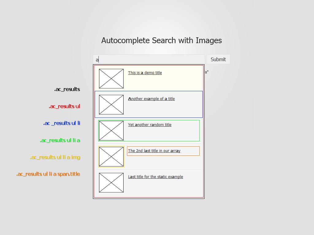 Diseño de HTML y CSS de Foxycomplete Search con Images Result Div