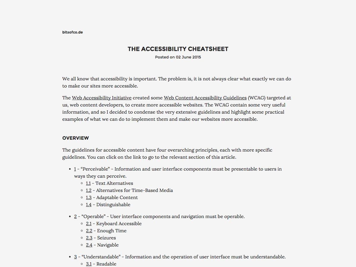 hoja de trucos de accesibilidad