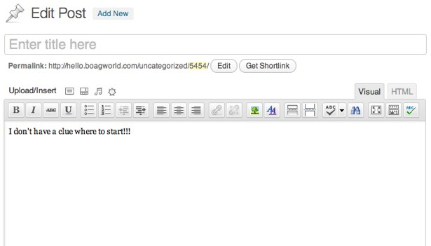 Et tomt WordPress-dokument