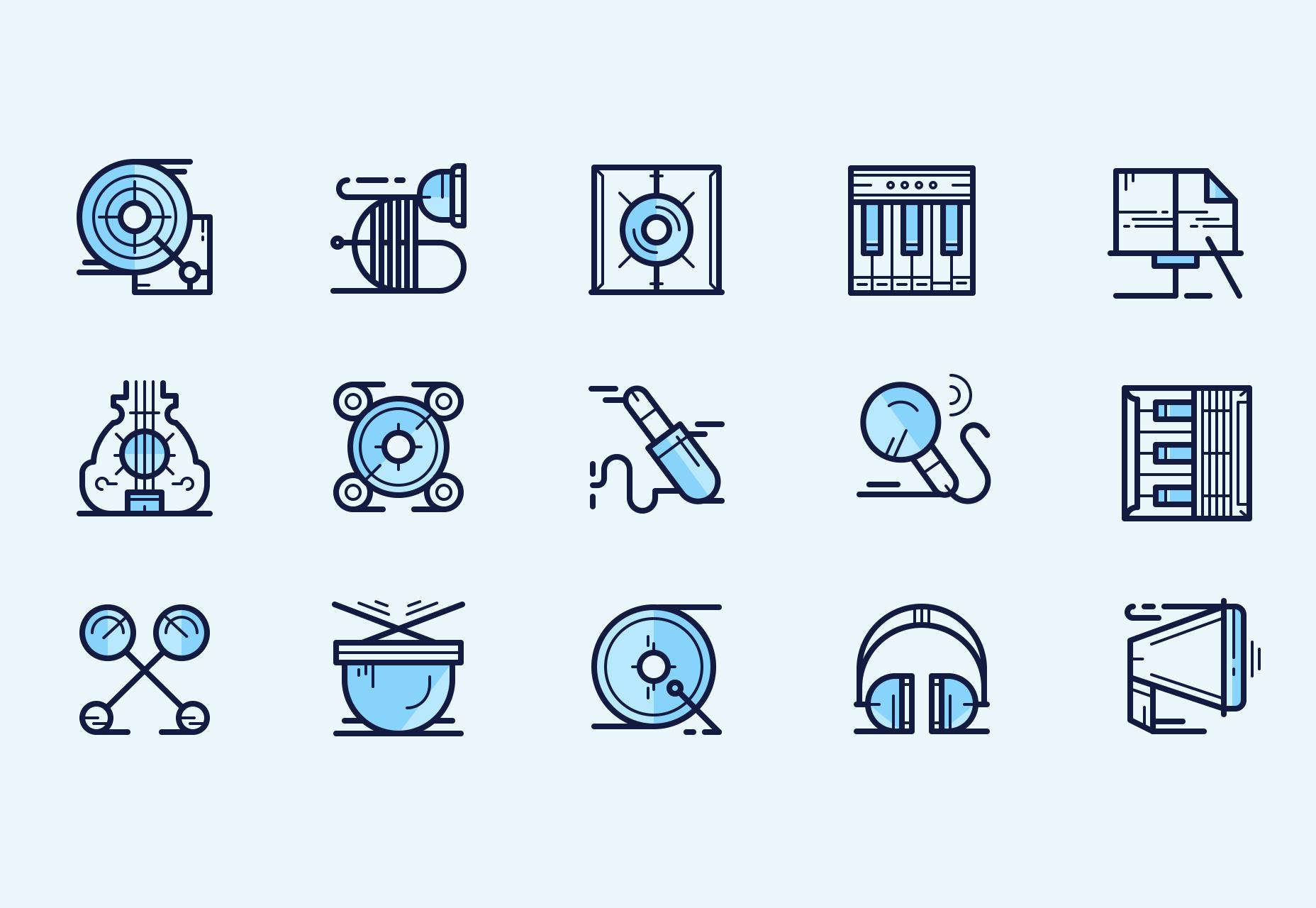 Íconos de la música: iconos de estilo de línea multi-peso
