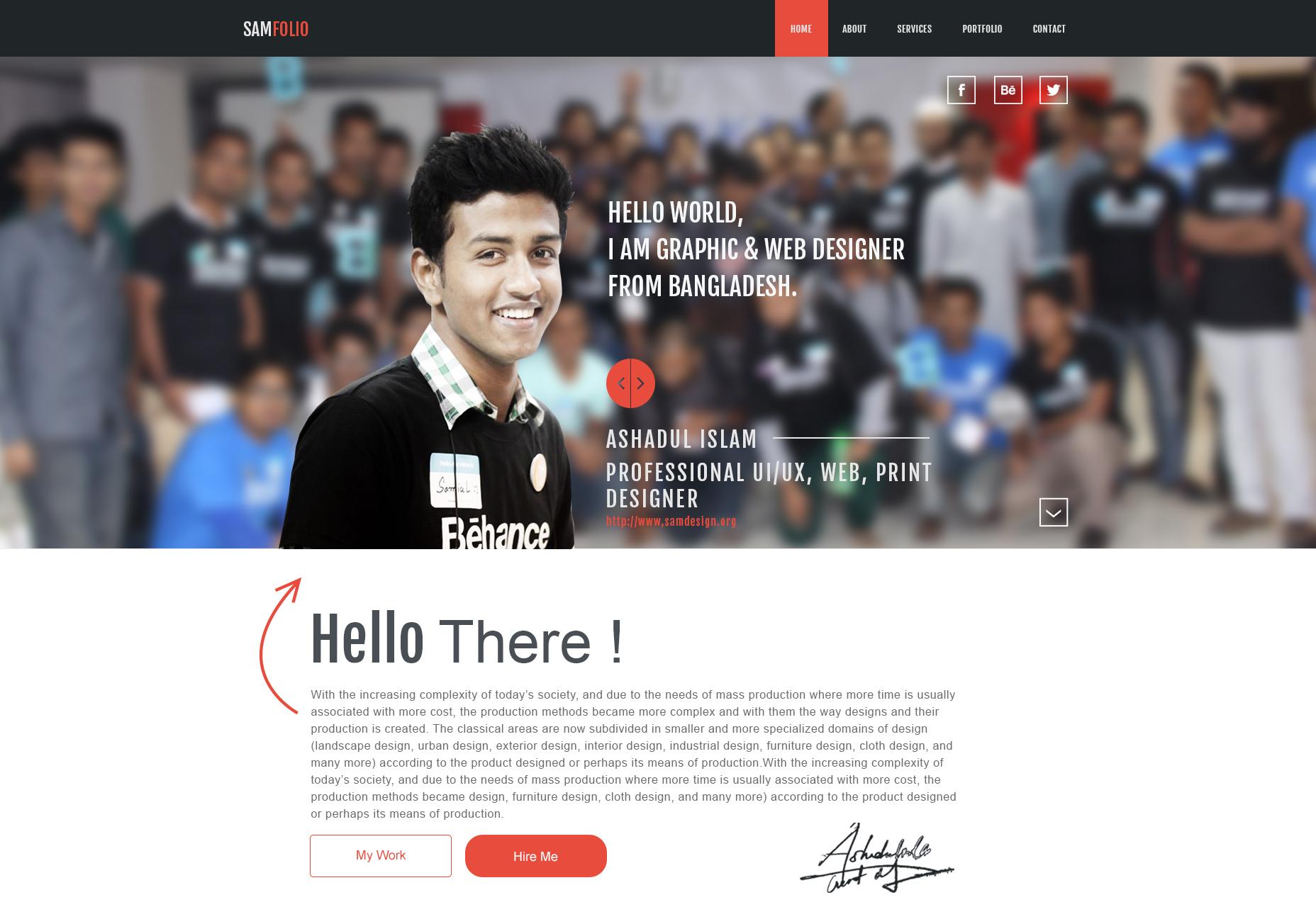 Samfolio: PSD web personal de una página en Behance