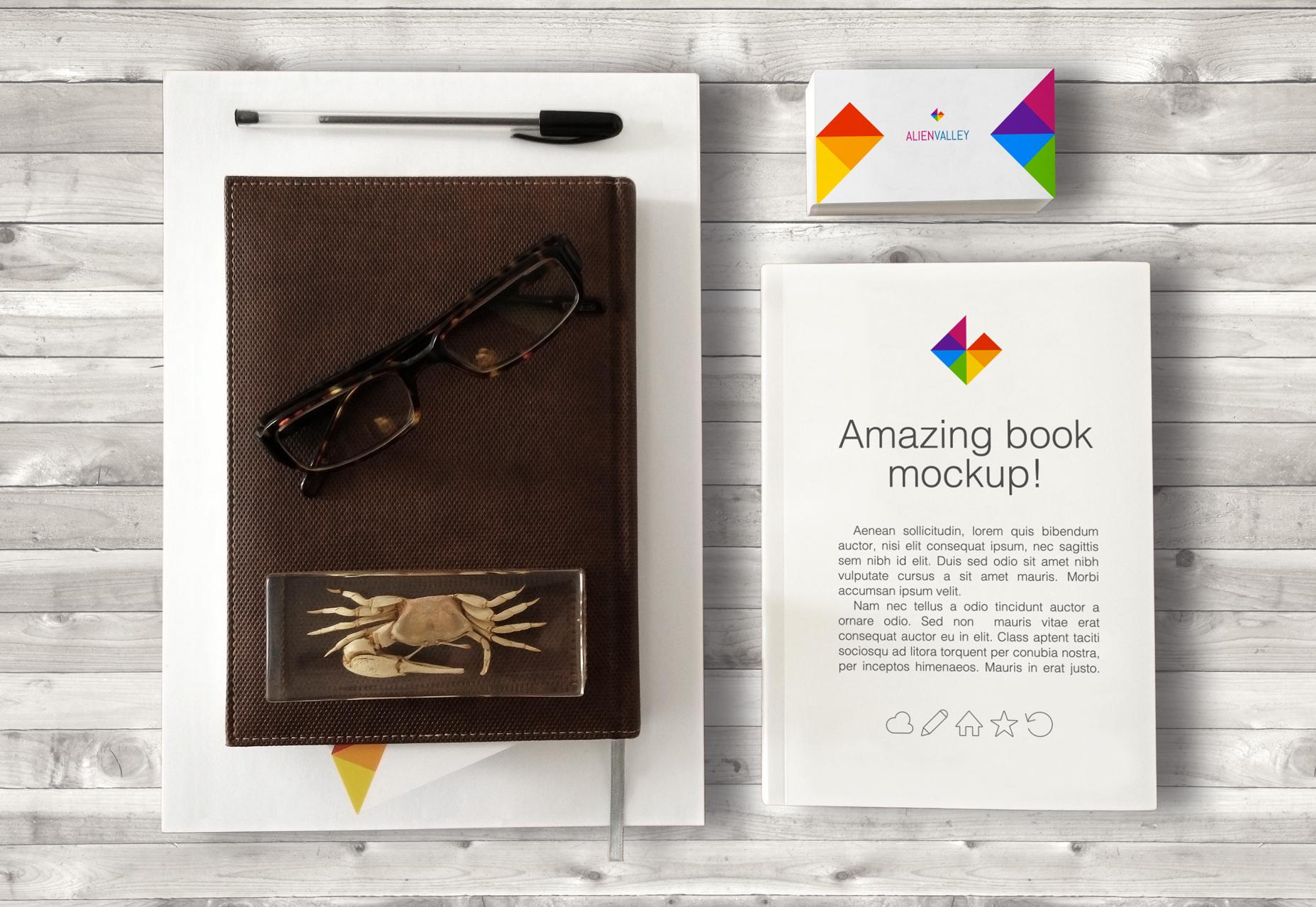 Maqueta de libro y tarjeta de visita