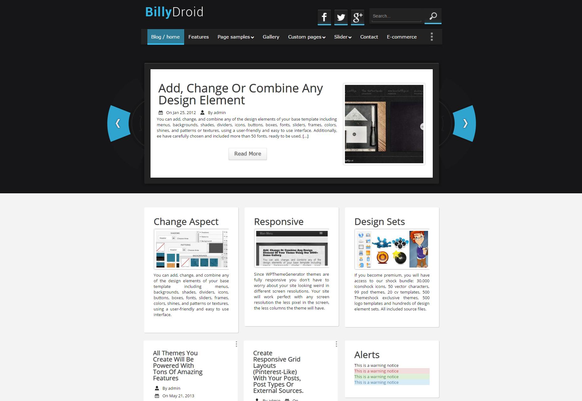BillyDroid: Tema de WordPress para blogs móviles y de tecnología