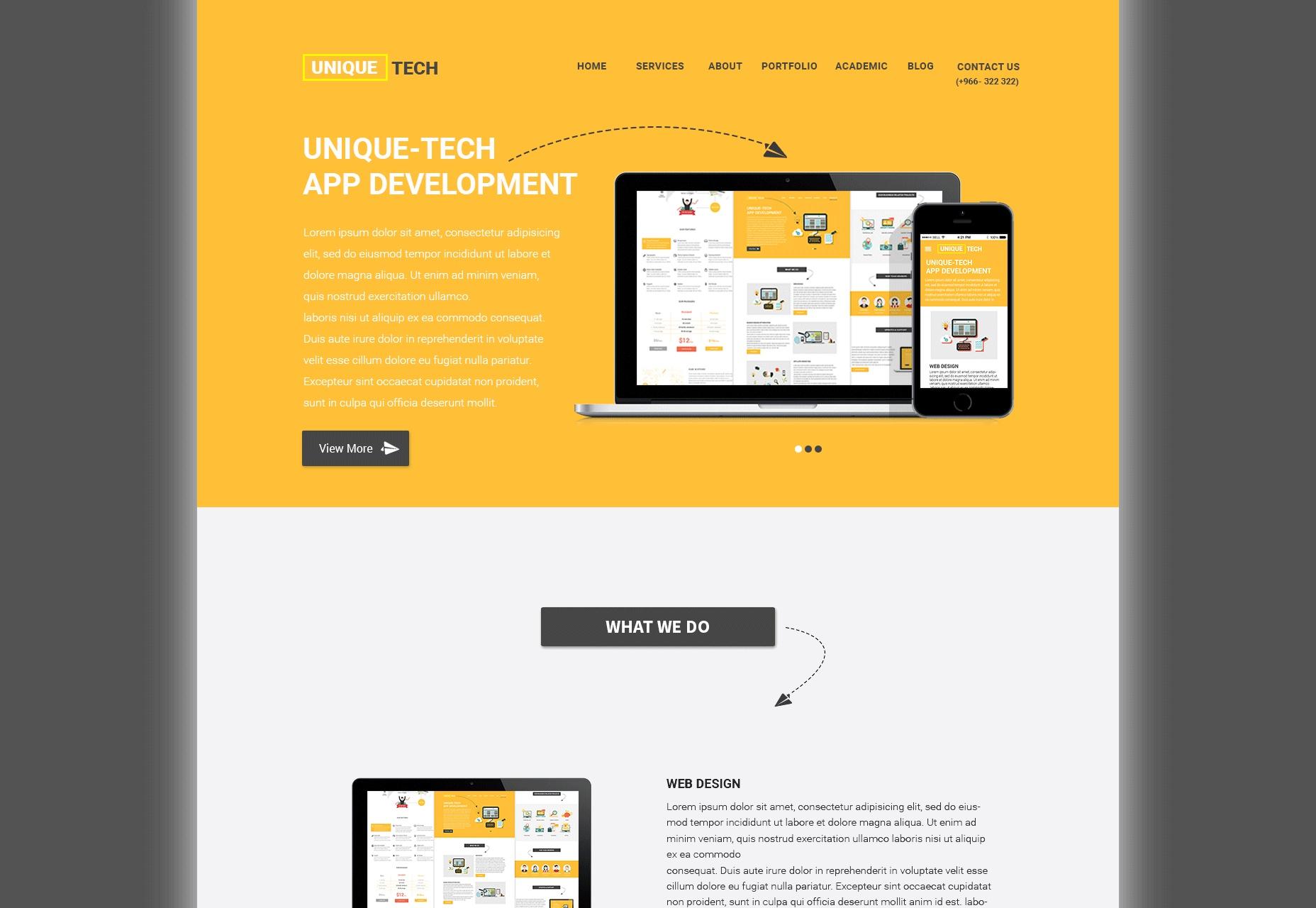 Tecnología única: interfaz de usuario de estilo plano del sitio web