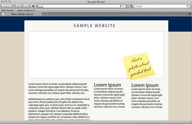 een webpagina met een gapend gat om te vullen met ... wat?