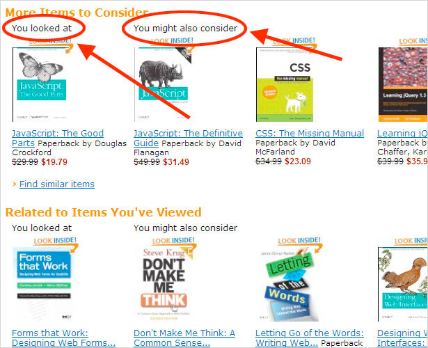 Amazon Content Tailored to the User