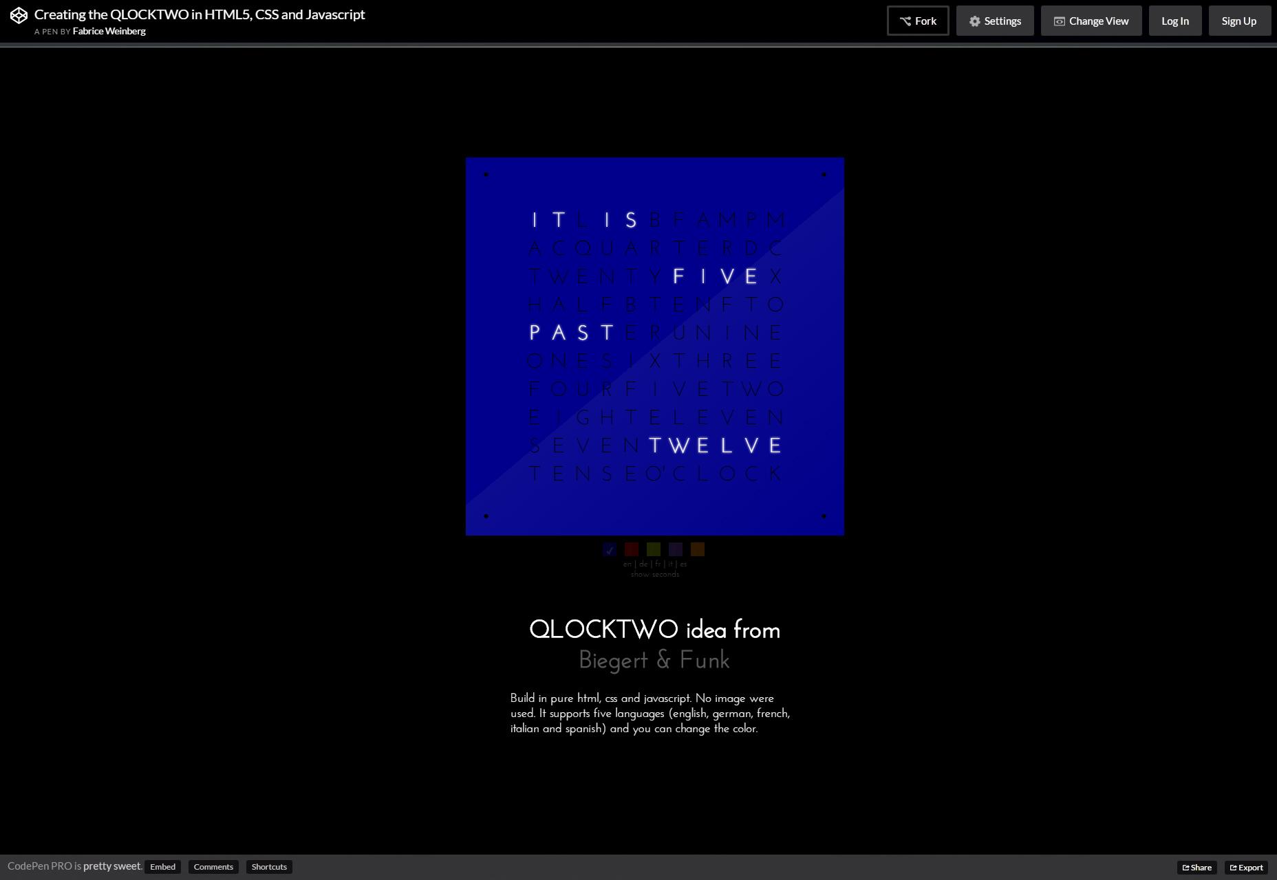 QLOCKTWO: Reloj de tiempo de CSS y JS