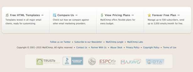 captura de pantalla del pie de página del chimpancé del correo