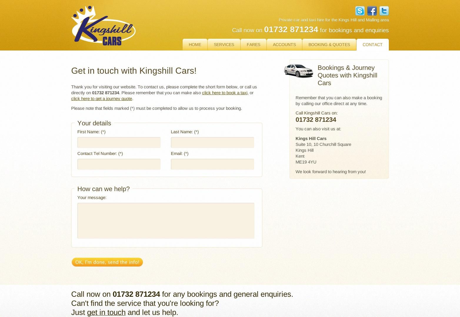 Kingshill Cars - 01732 871234 - Taxi a soukromé autopůjčovny v oblasti Kingshill a Malling
