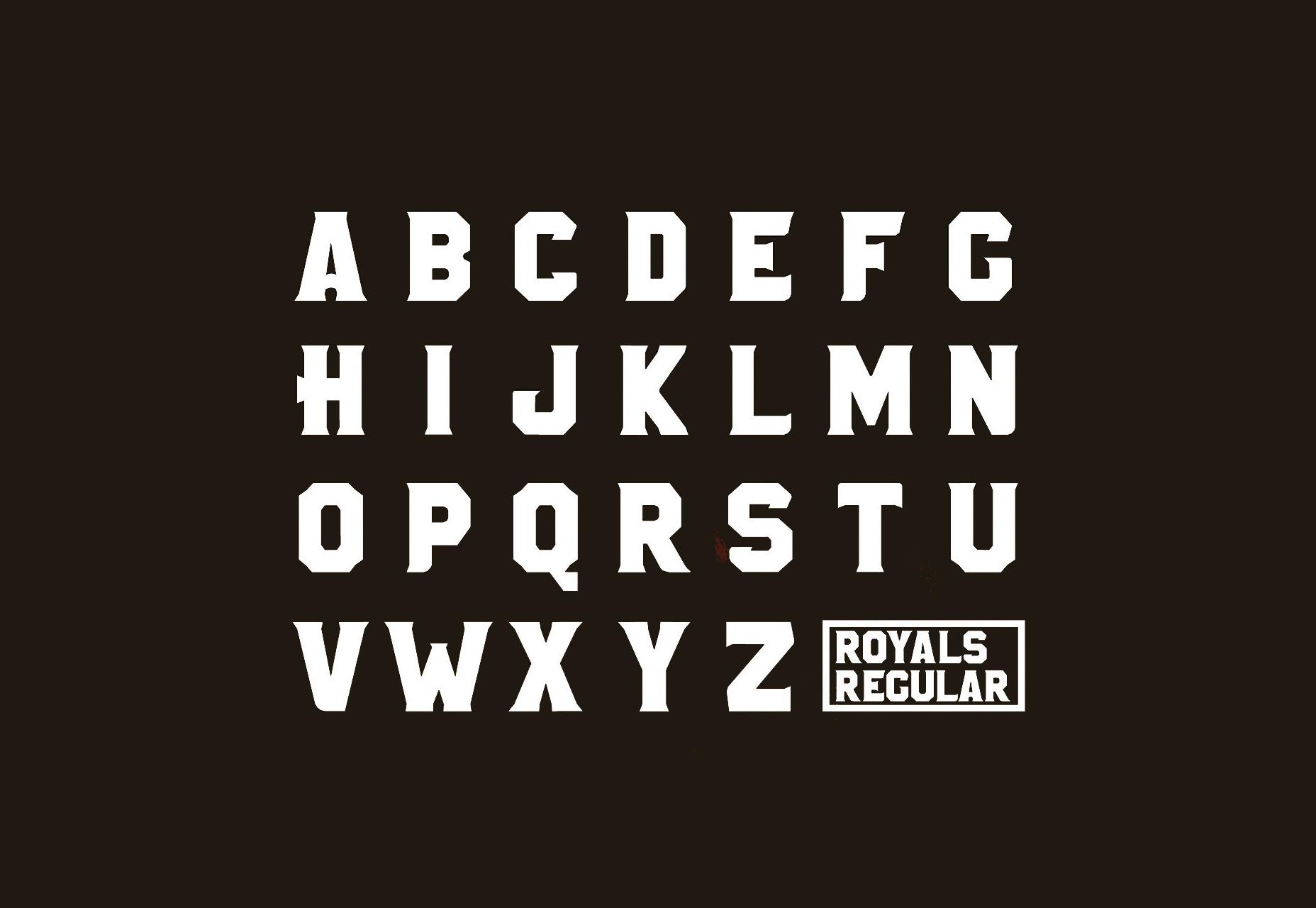Royals: tipo de letra curvo tipo hexágono