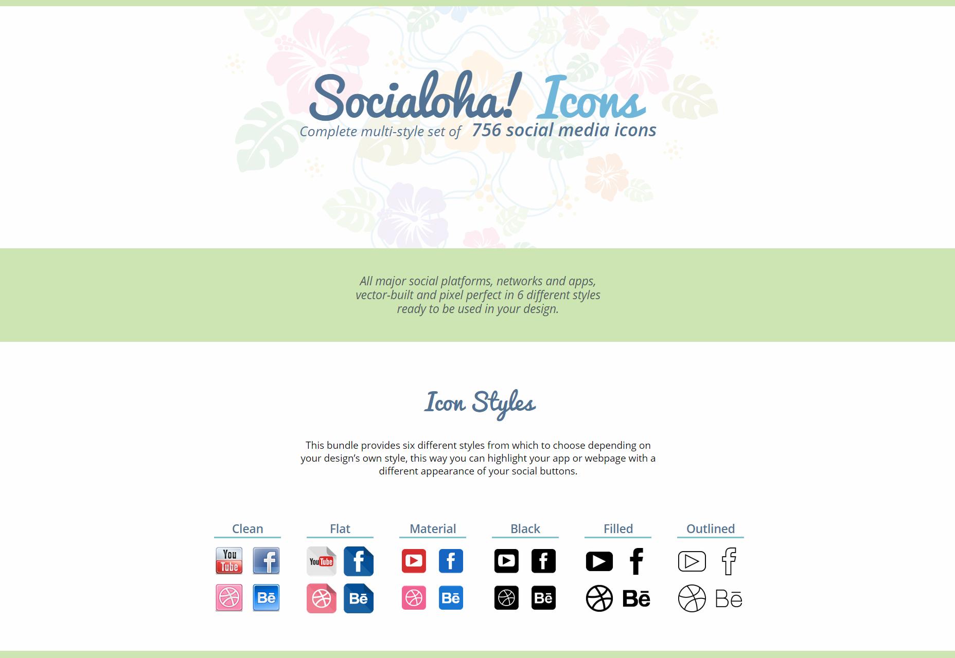 Socialoha: Een set van 756 multi-stijl sociale pictogrammen