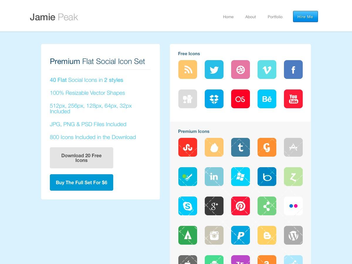 conjunto de iconos sociales planas premium