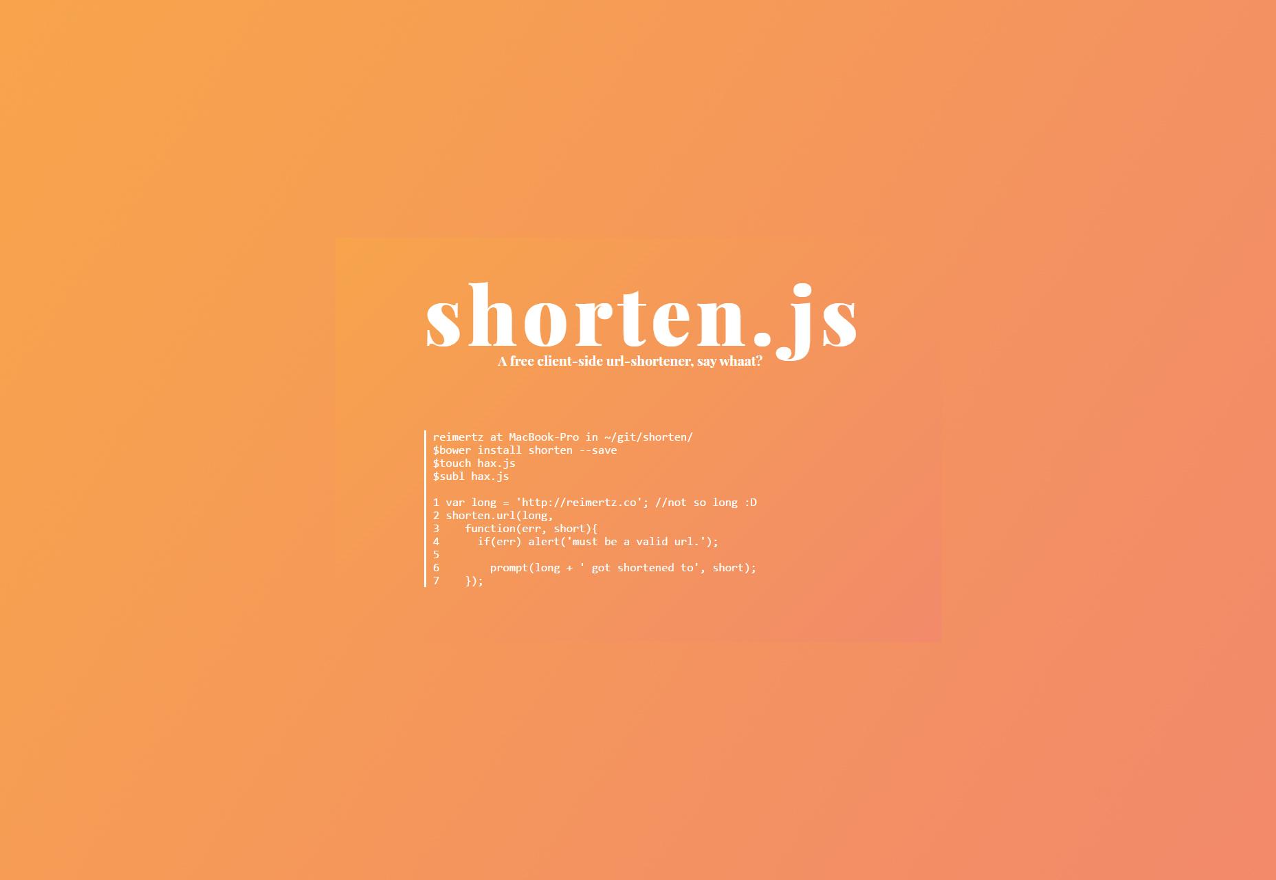 Shorten.li: fragmento de JS de acortamiento de URL del lado del cliente