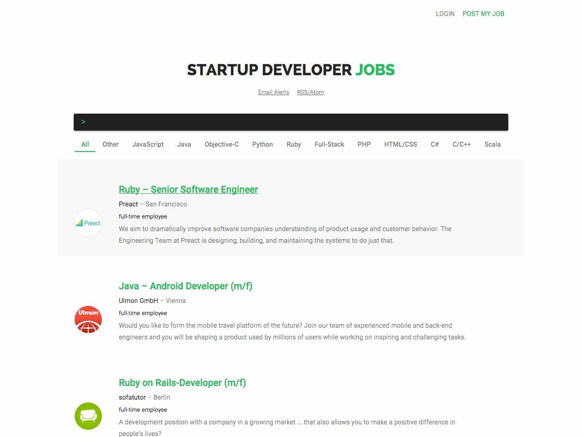 trabajos de desarrollador de inicio