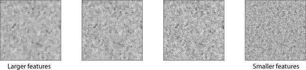 texturas de ejemplo con diferentes características de tamaño