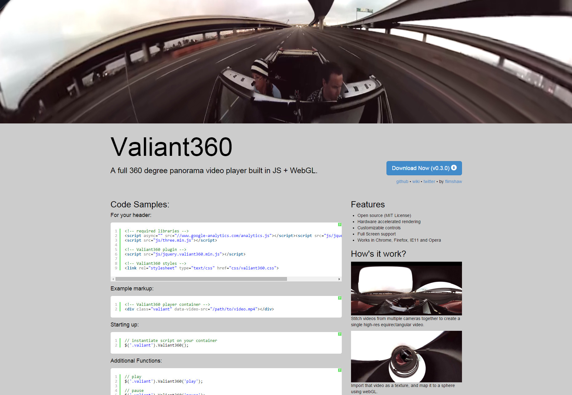 Valiant360: reproductor de video Panorama