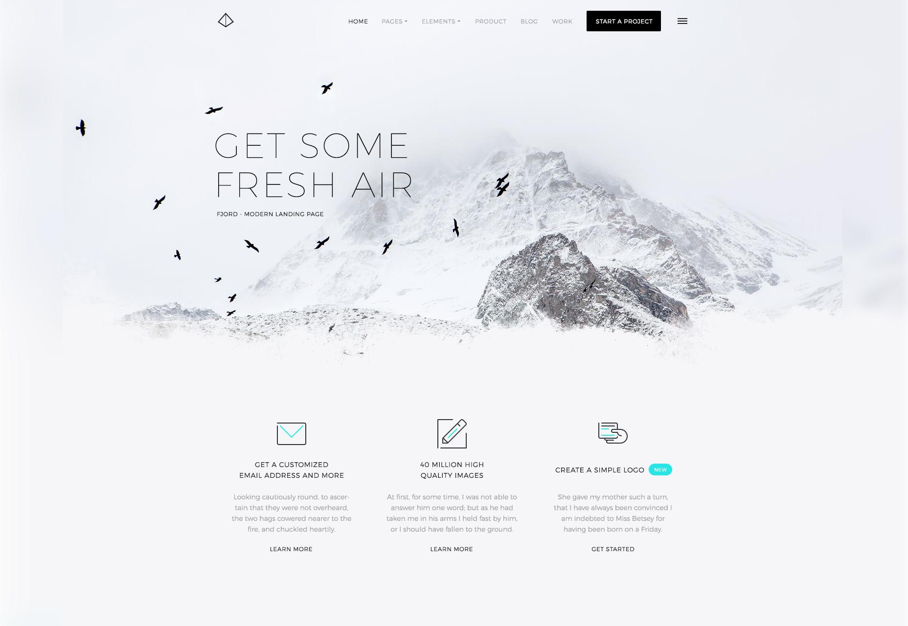 Fjord: een thema van de thema-indeling Clean & Cold Schemed
