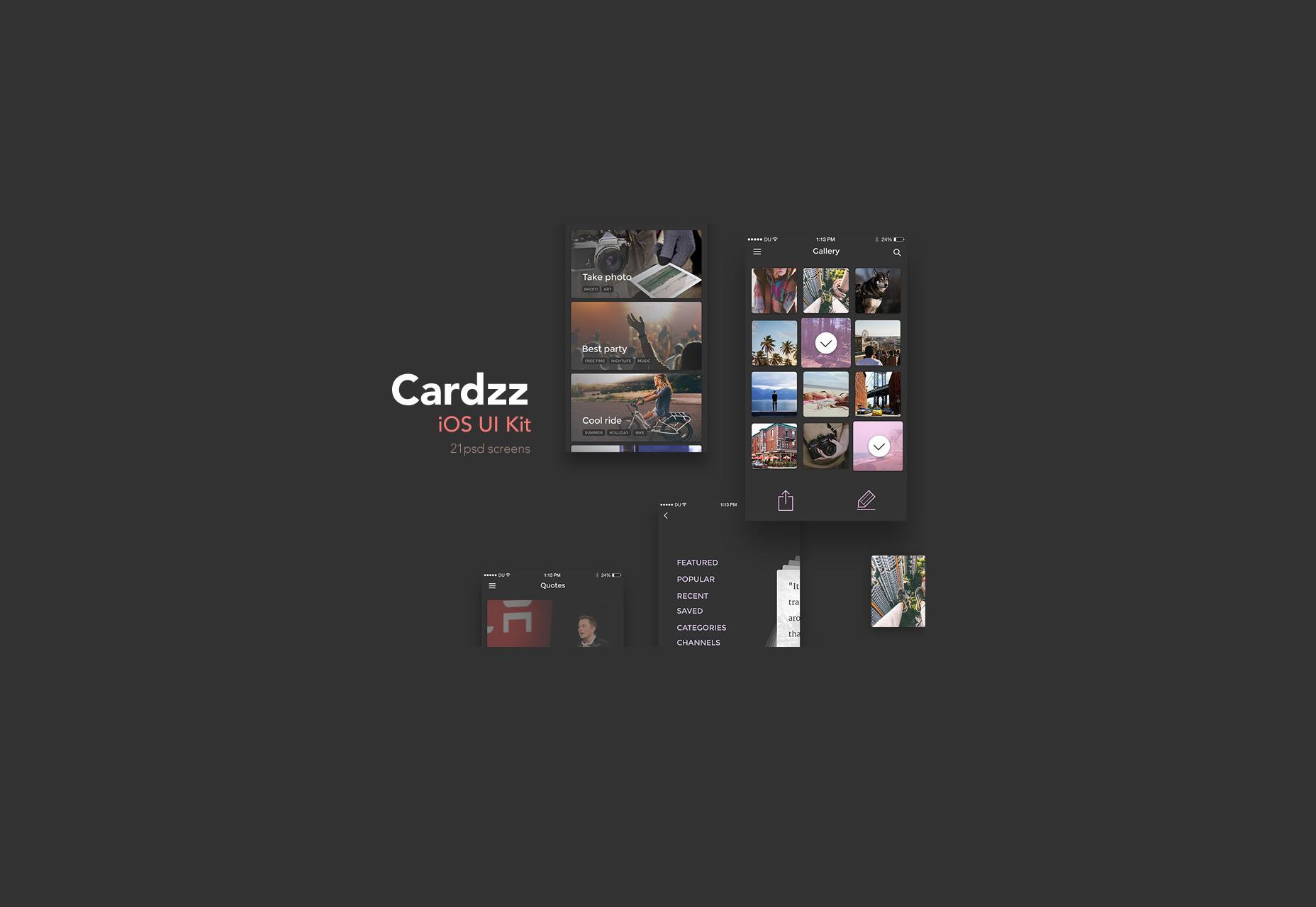 Cardzz: Dark Schemed iOS UI Kit
