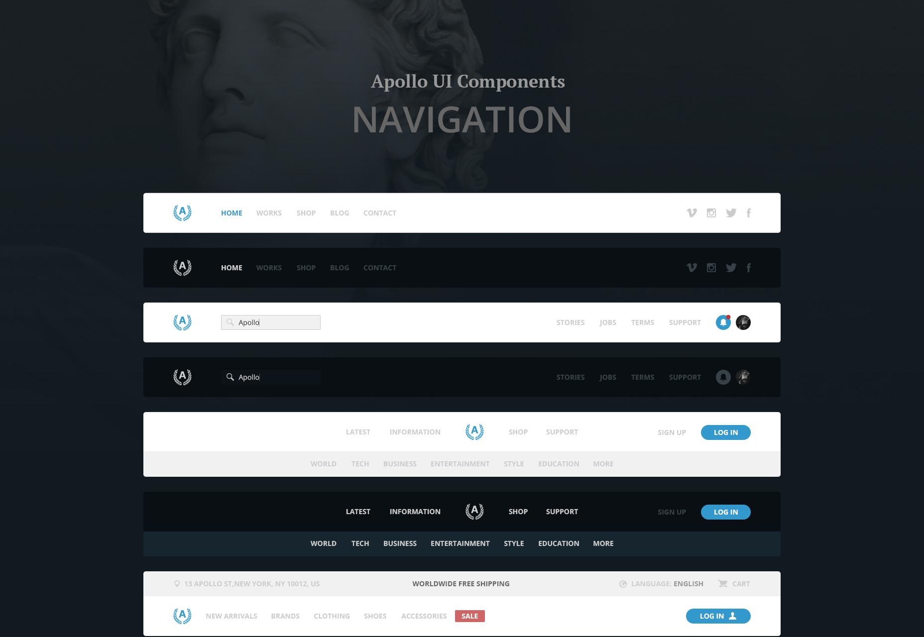 Apollo: PSD & Sketch UI navigatiebalkkit