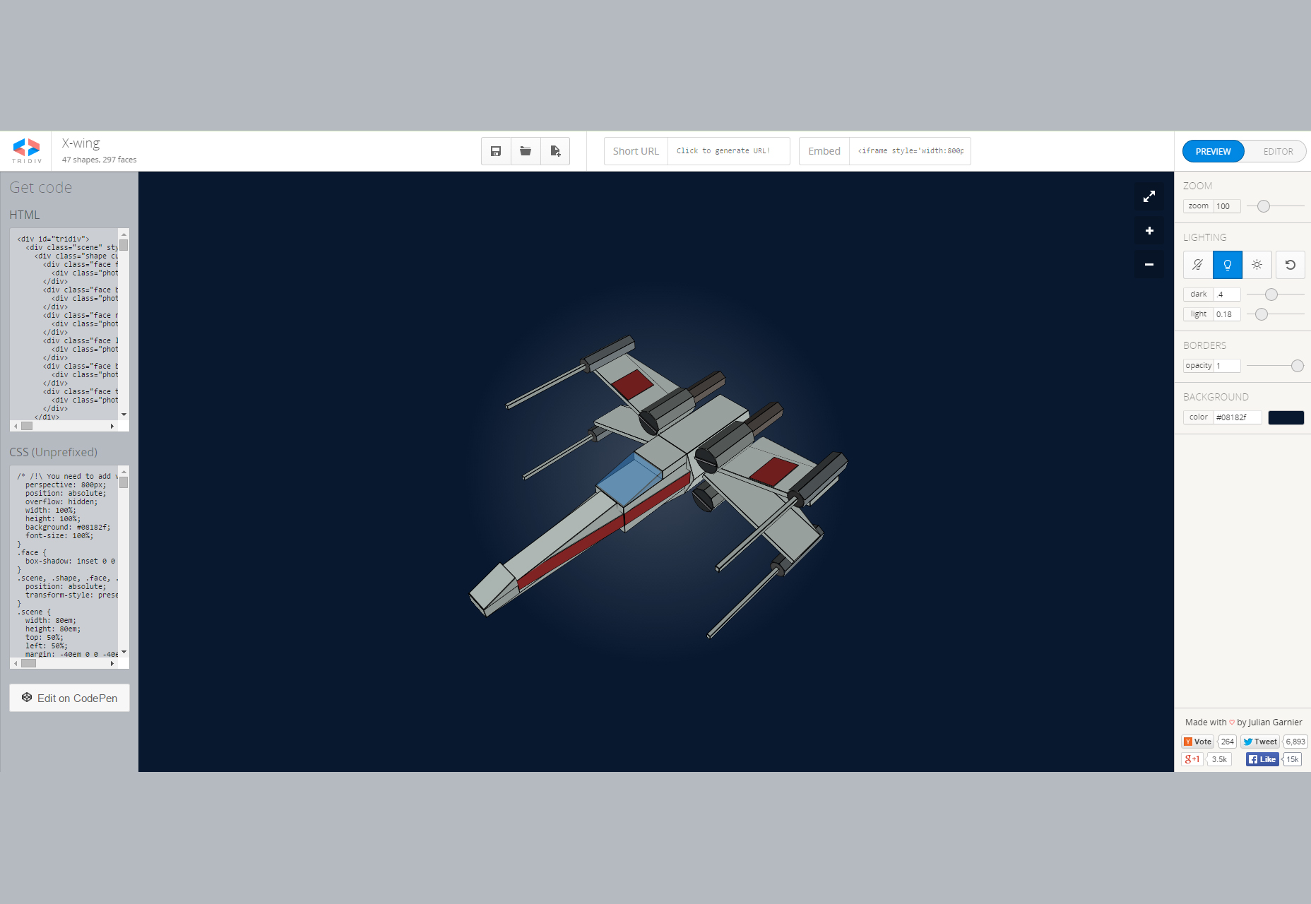 Tridiv: Online CSS 3D Shapes Editor