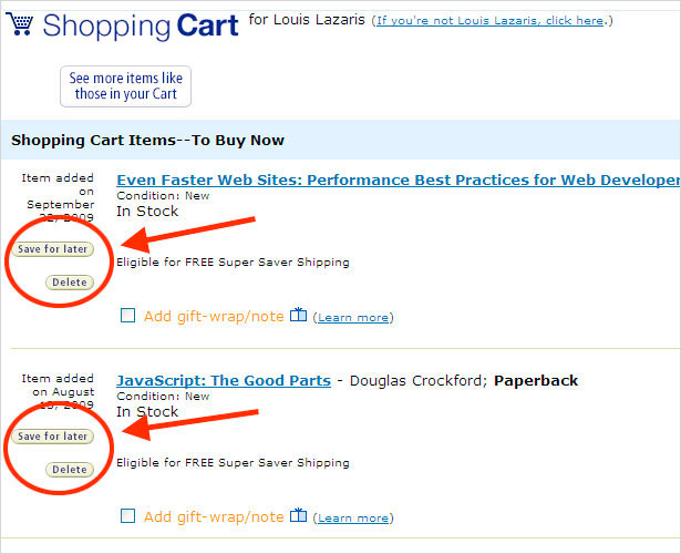 Amazon Cart Options