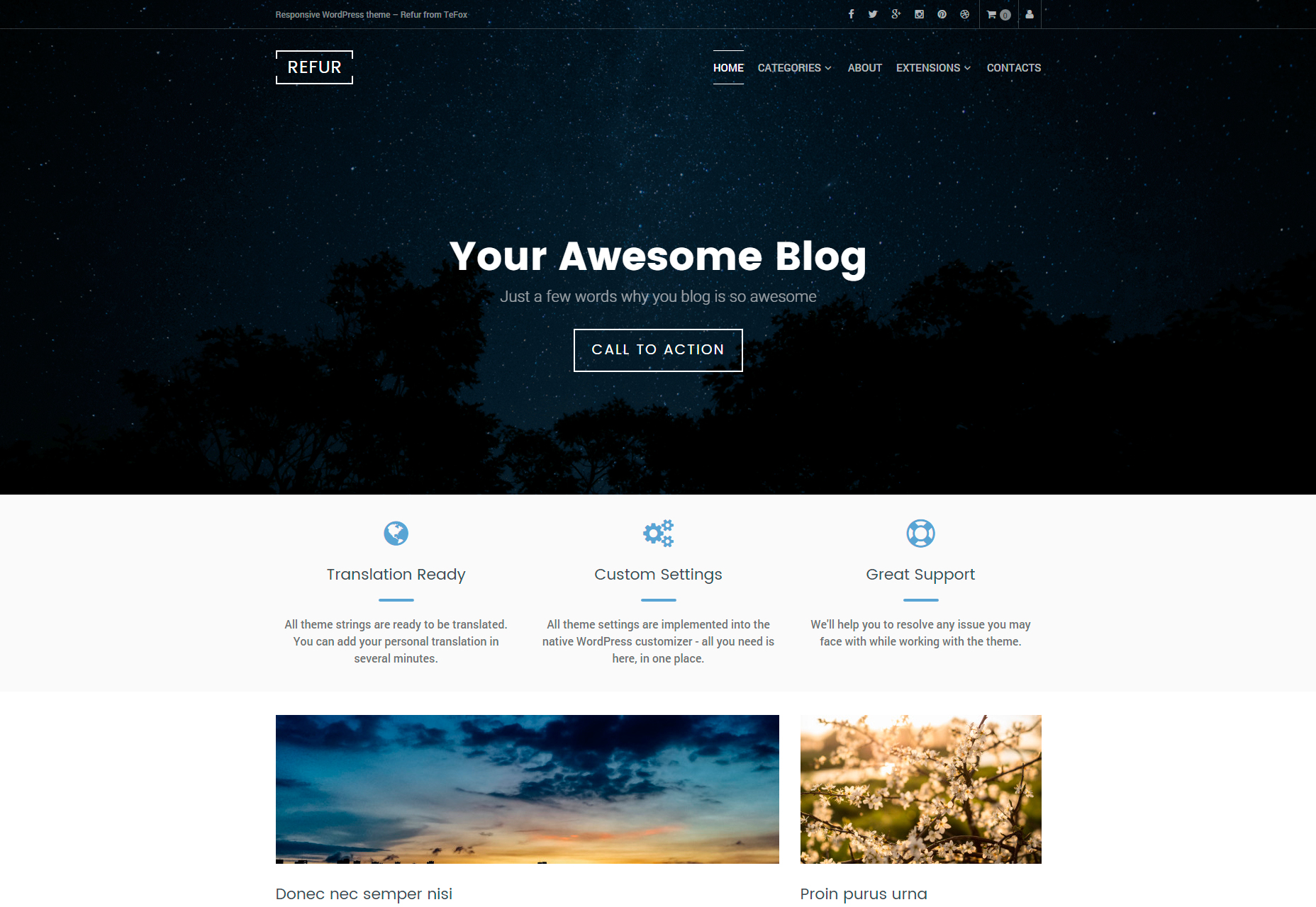Refur: tema de WordPress limpio y moderno de blogs