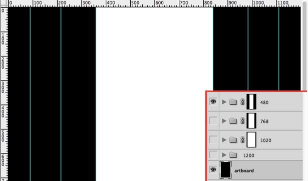 viewports for responsive design simulated in Photoshop