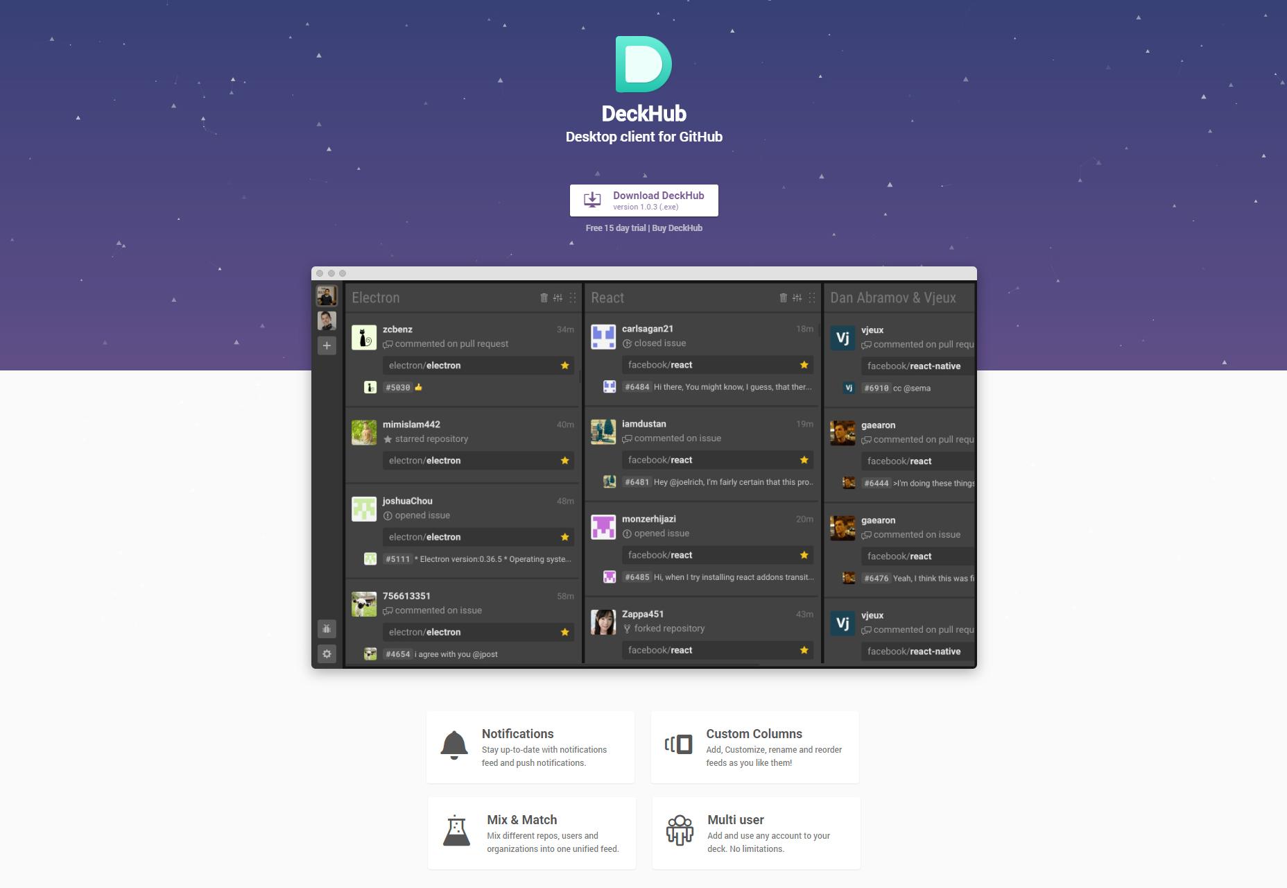 DeckHub: GitHub-työpöytäohjelma