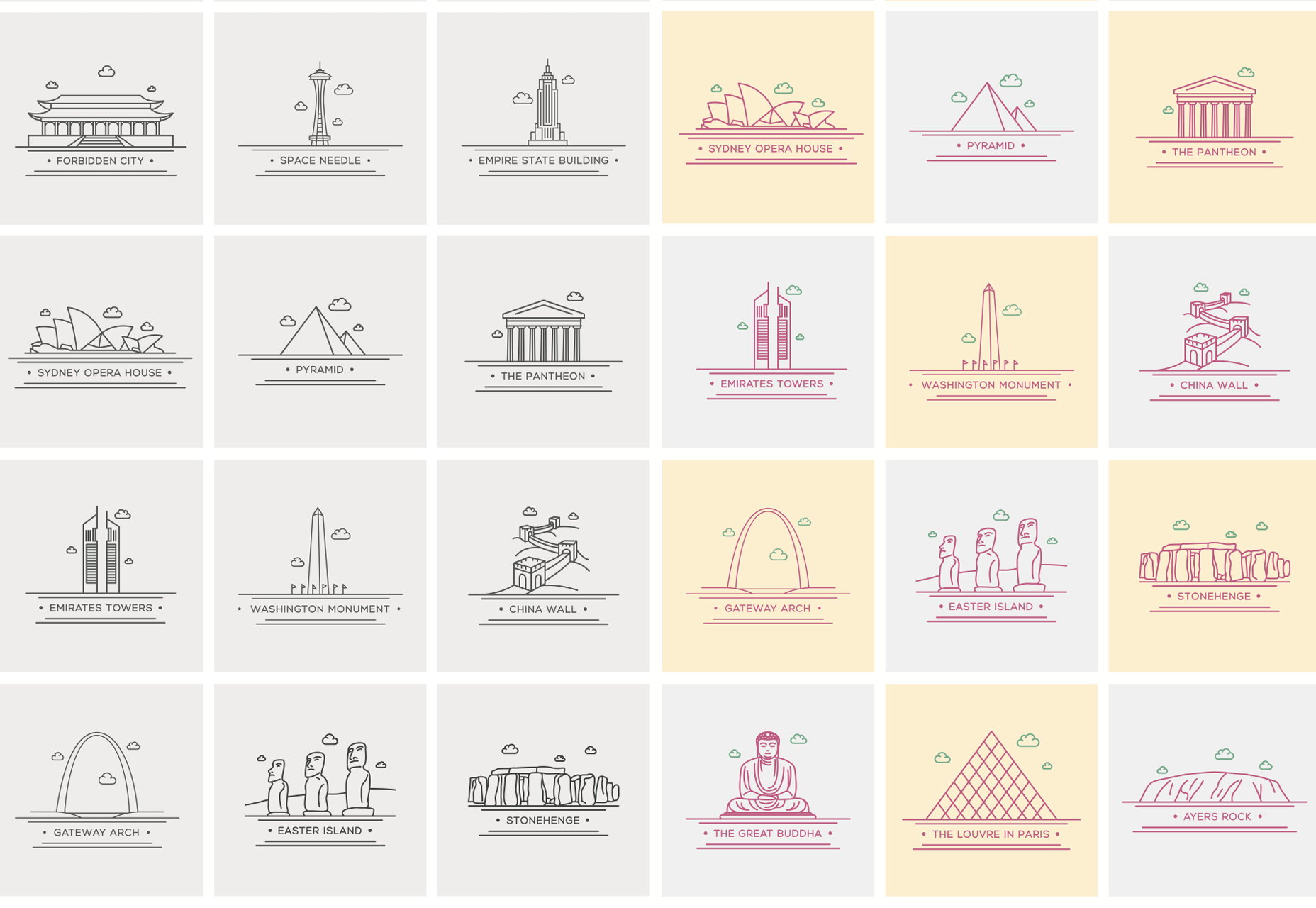 World Landmark Line Vector Icons