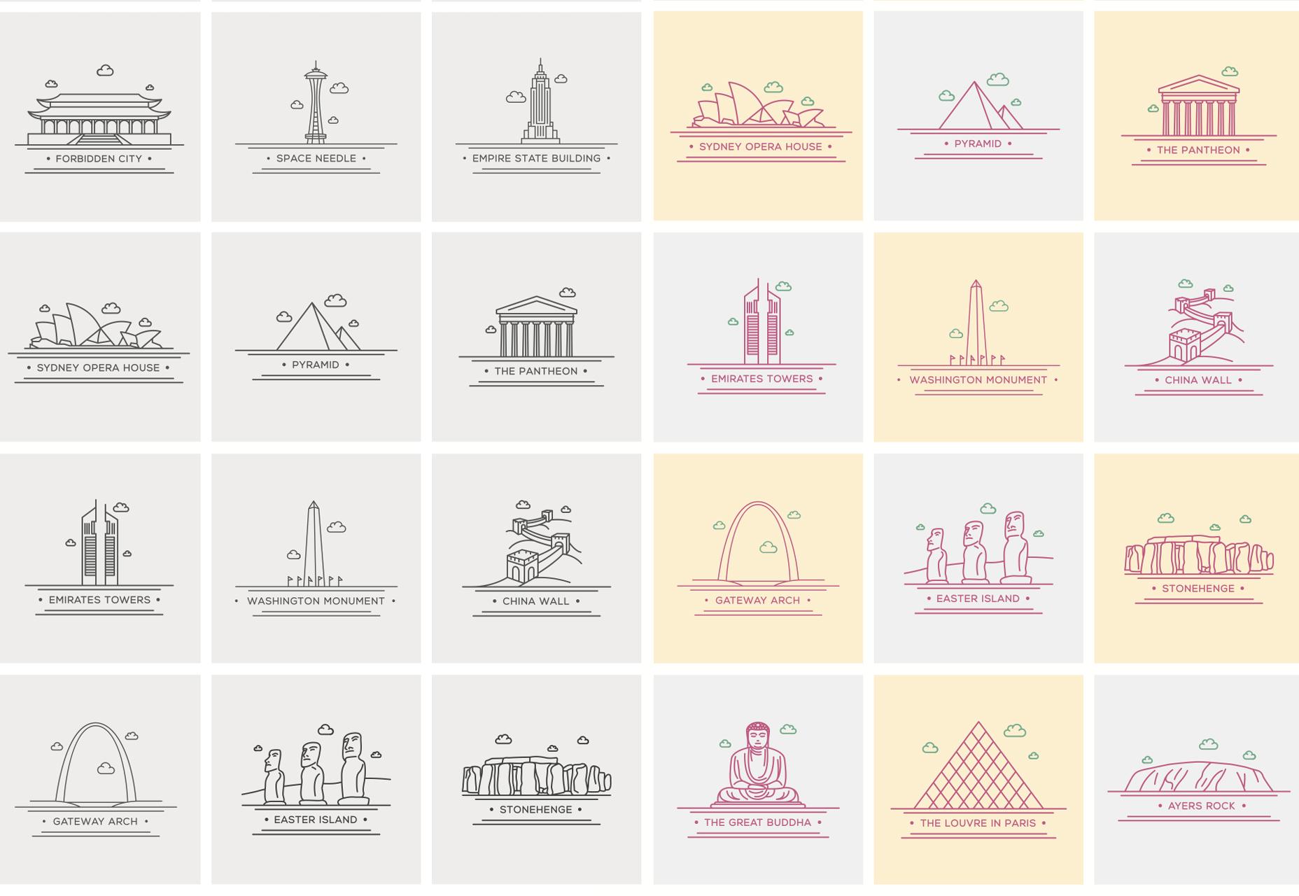 Wereld monument Lijn Vector iconen