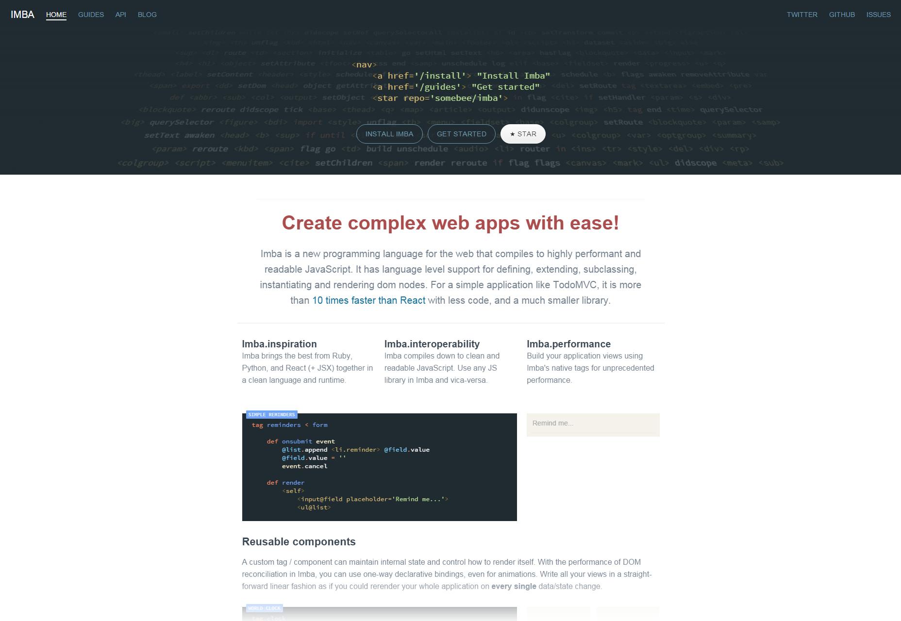 Imba: Easy Web Applications Language